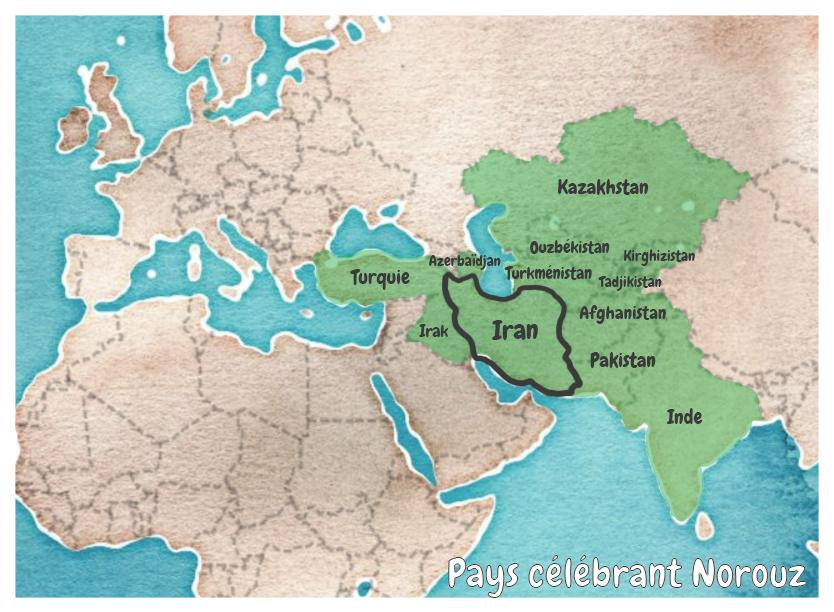 Carte des pays célébrant Norouz