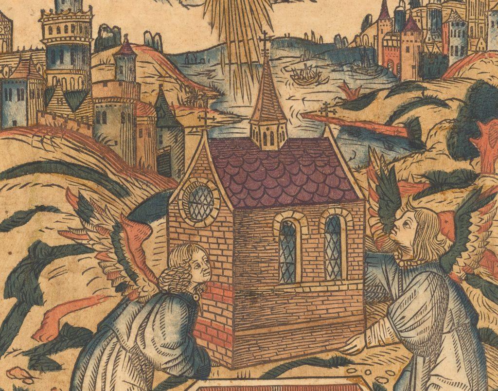 La Translation de la Sainte Maison de Lorette - Gravure de 1494
